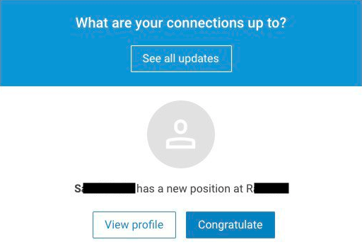 LinkedIn Updates email, after blocking someone!